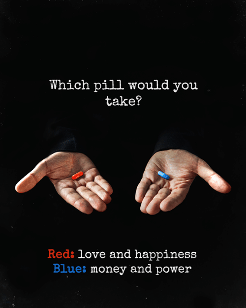 Love, Memes, and Money: Which pill would you  take?  Reds love and happiness  Blues money and power