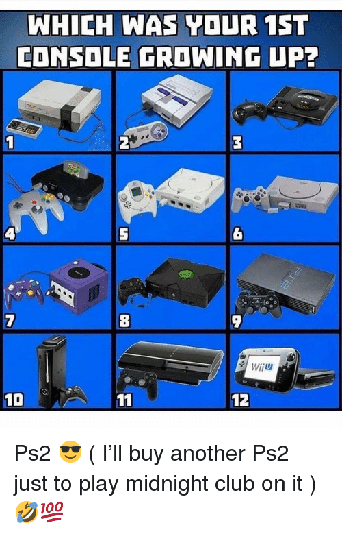 wiiu: WHICH WAS YOUR 1ST  CONSOLE GROWING UP7  8  WİİU  12 Ps2 😎 ( I'll buy another Ps2 just to play midnight club on it ) 🤣💯