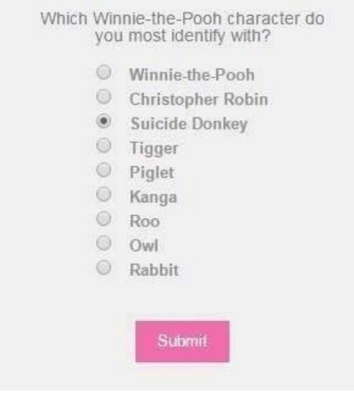 Tiggered: Which Winnie-the-Pooh character do  you most identify with?  Winnie the Pooh  O Christopher Robin  Suicide Donkey  O Tigger  Piglet  Kanga  O Roo  O owl  Rabbit  Submit