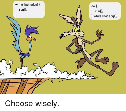 Choose Wisely: while (not edge) f  run();  do  runl)  ) while (not edge) Choose wisely.