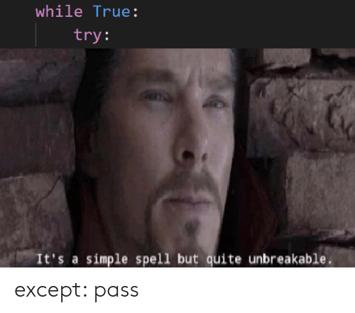 True, Quite, and Simple: while True:  try:  It's a simple spell but quite unbreakable except: pass