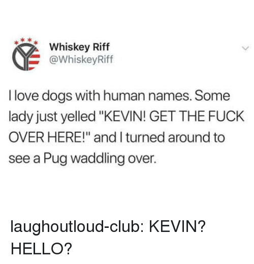 "Club, Dogs, and Hello: Whiskey Riff  @WhiskeyRiff  I love dogs with human names. Some  lady just yelled ""KEVIN! GET THE FUCK  OVER HERE!"" and I turned around to  see a Pug waddling over. laughoutloud-club:  KEVIN? HELLO?"
