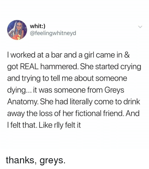 hammered: whit:)  @feelingwhitneyd  I worked at a bar and a girl came in &  got REAL hammered. She started crying  and trying to tell me about someone  dying... it was someone from Greys  Anatomy. She had literally come to drink  away the loss of her fictional friend. And  l felt that. Like rlly felt it thanks, greys.
