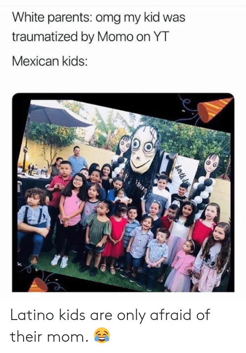 Memes, Omg, and Parents: White parents: omg my kid was  traumatized by Momo on YT  Mexican kids: Latino kids are only afraid of their mom. 😂