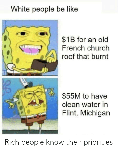 flint: White people be like  $1B for an old  French church  roof that burnt  $55M to have  clean water in  Flint, Michigan Rich people know their priorities