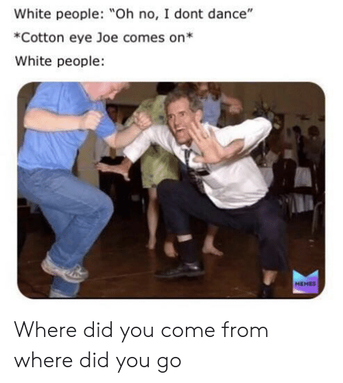 """Did You Come From: White people: Oh no, I dont dance""""  *Cotton eye Joe comes on*  White people  MEMES Where did you come from where did you go"""