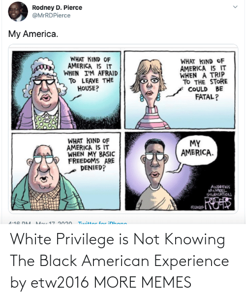 White Privilege: White Privilege is Not Knowing The Black American Experience by etw2016 MORE MEMES