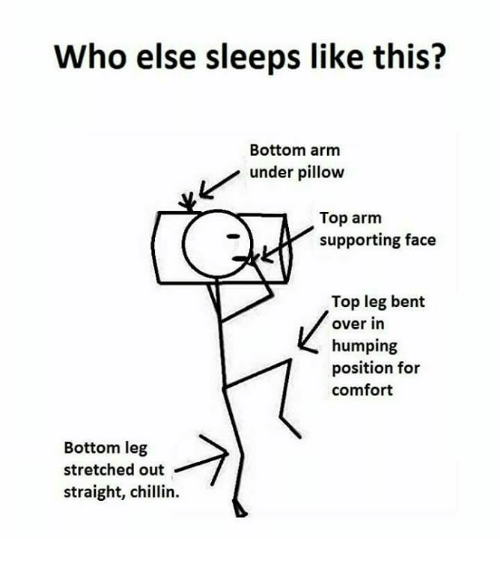 Leggings Bent Over: Who else sleeps like this?  Bottom arm  Lunder pillow  Top arm  supporting face  Top leg bent  over in  humping  position for  comfort  Bottom leg  stretched out  straight, chlin.  straight, chillin.