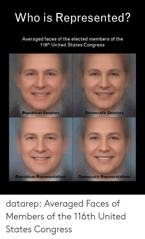 Target, Tumblr, and Blog: Who is Represented?  Averaged faces of the elected members of the  116th United States Congress  Democratic Senators  Republican Senators  Republican Represe ntatives  Democratic Representatives datarep:  Averaged Faces of Members of the 116th United States Congress