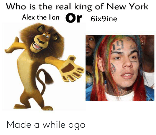 New York, Lion, and The Real: Who is the real king of New York  Alex the lion r 6ix9ine Made a while ago