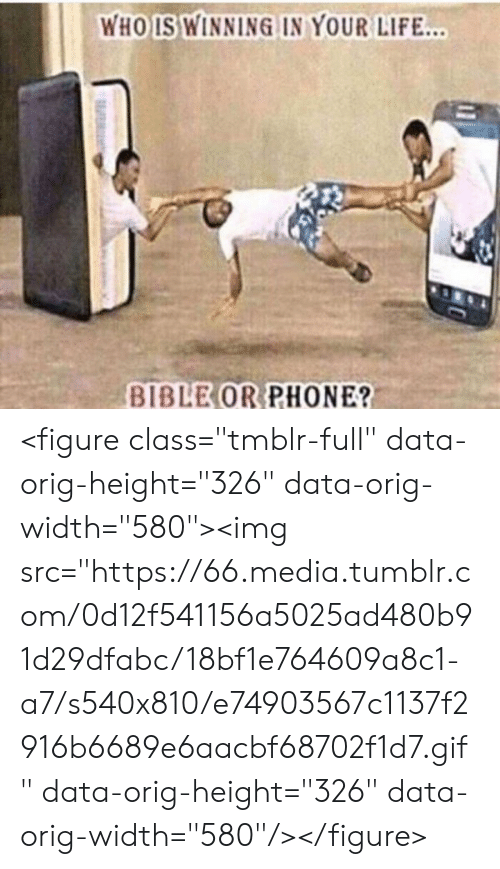 "Gif, Life, and Phone: WHO IS WINNING IN YOUR LIFE...  BIBLE OR PHONE? <figure class=""tmblr-full"" data-orig-height=""326"" data-orig-width=""580""><img src=""https://66.media.tumblr.com/0d12f541156a5025ad480b91d29dfabc/18bf1e764609a8c1-a7/s540x810/e74903567c1137f2916b6689e6aacbf68702f1d7.gif"" data-orig-height=""326"" data-orig-width=""580""/></figure>"