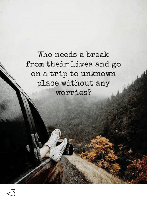 Memes, Break, and 🤖: Who needs a break  from their lives and go  on a trip to unknown  place without any  worries? <3