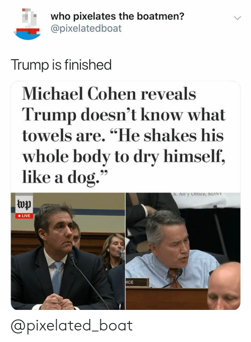 """Pixelated: who pixelates the boatmen?  @pixelatedboat  Trump is finished  Michael Cohen reveals  Trump doesn't know what  towels are. """"He shakes his  whole body to dry himself,  like a dog.""""  top  e LIVE  ICE @pixelated_boat"""