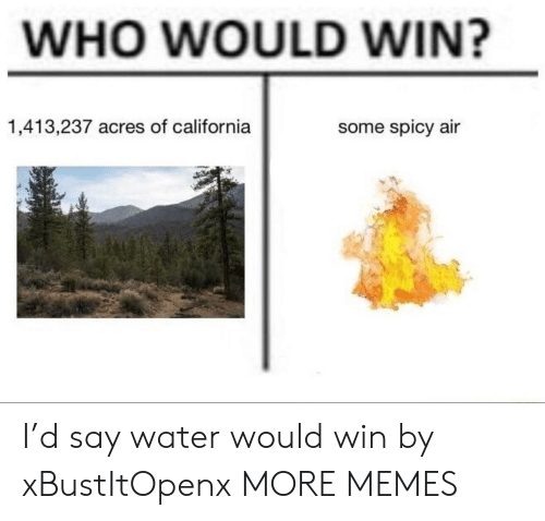 Dank, Memes, and Target: WHO WOULD WIN?  1,413,237 acres of california  some spicy air I'd say water would win by xBustItOpenx MORE MEMES