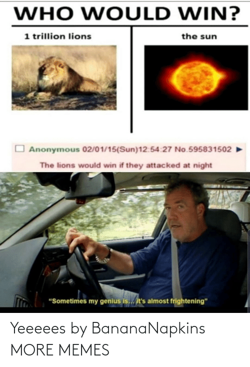 "sun: WHO WOULD WIN?  1 trillion lions  the sun  Anonymous 02/01/15(Sun)12:54:27 No.595831502  The lions would win if they attacked at night  ""Sometimes my genius is... it's almost frightening"" Yeeeees by BananaNapkins MORE MEMES"