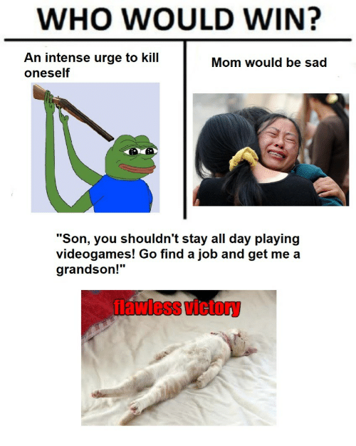 "Sad, Mom, and Job: WHO WOULD WIN?  An intense urge to kill  oneself  Mom would be sad  ""Son, you shouldn't stay all day playing  videogames! Go find a job and get me a  grandson!""  flawless victory"