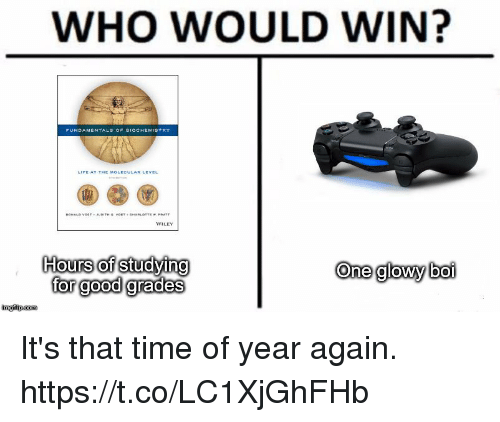 wiley: WHO WOULD WIN?  LECULAR LEVEL  WILEY  Hours of studying  far geod grades  One glowy boi  Ol It's that time of year again. https://t.co/LC1XjGhFHb