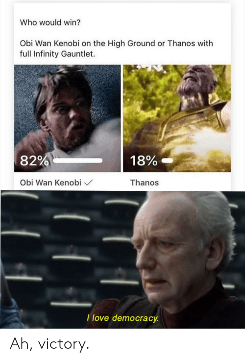 Love, Obi-Wan Kenobi, and Infinity: Who would win?  Obi Wan Kenobi on the High Ground or Thanos with  full Infinity Gauntlet.  18%-  82%  Thanos  Obi Wan Kenobi  I love democracy Ah, victory.