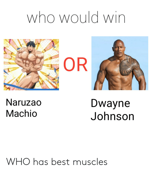 Anime, Dwayne Johnson, and Best: who would win  OR  Naruzao  Dwayne  Johnson  Machio WHO has best muscles