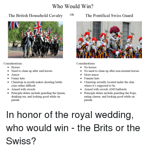Non Existent: Who Would Win?  OR  The British Household Cavalry  The Pontifical Swiss Guard  Considerations  Considerations  e Horses  » Need to clean up after said horses  e Armor  » Funny hats  * Chinstrap in mouth makes shouting battle  » No horses  * No need to clean up after non-existent horses  » More armor  * Funnier hats  * Chinstrap actually located under the chin  cries rather difficult  Armed with swords  Principle duties include guarding the Queen,  drinking tea, and looking good while oin  parade  where it's supposed to be  » Armed with swords AND halberds  * Principle duties include guarding the Pope,  »  *  eating cheese, and looking good while on  parade In honor of the royal wedding, who would win - the Brits or the Swiss?