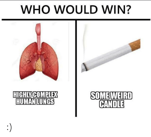 Complex, Weird, and Human: WHO WOULD WIN?  SOME WEIRD  CANDLE  HIGHLY COMPLEX  HUMAN LUNGS :)