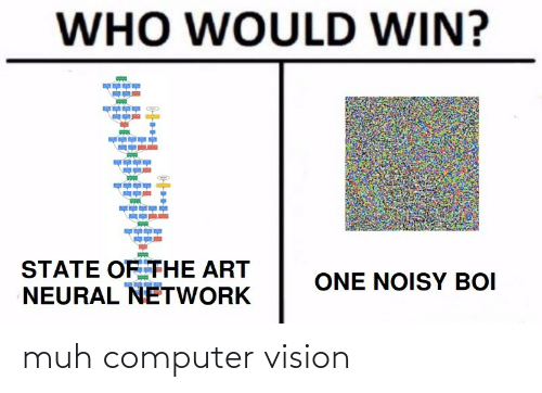 boi: WHO WOULD WIN?  STATE OF THE ART  NEURAL NETWORK  ONE NOISY BOI muh computer vision