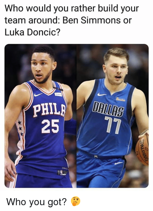 Build Your: Who would you rather build your  team around: Ben Simmons or  Luka Doncic?  25 77 Who you got? 🤔