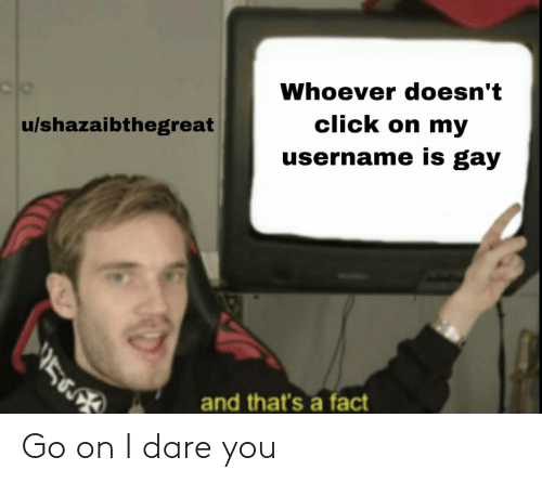 Click, Reddit, and Gay: Whoever doesn't  click on my  u/shazaibthegreat  username is gay  and that's a fact Go on I dare you