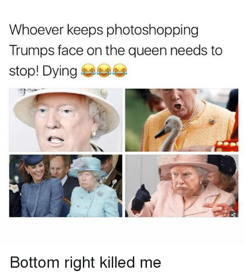 Bottoming: Whoever keeps photoshopping  Trumps face on the queen needs to  stop! Dying 부부부 Bottom right killed me