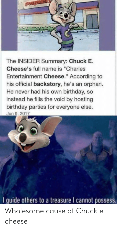 cheese: Wholesome cause of Chuck e cheese