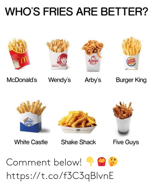 Burger King: WHO'S FRIES ARE BETTER?  Arbys  IN  McDonalds Wendy's Arbys Burger King  hite  Cast  White Castle  Shake ShackFive Guys Comment below! 👇🍟🤔 https://t.co/f3C3qBlvnE