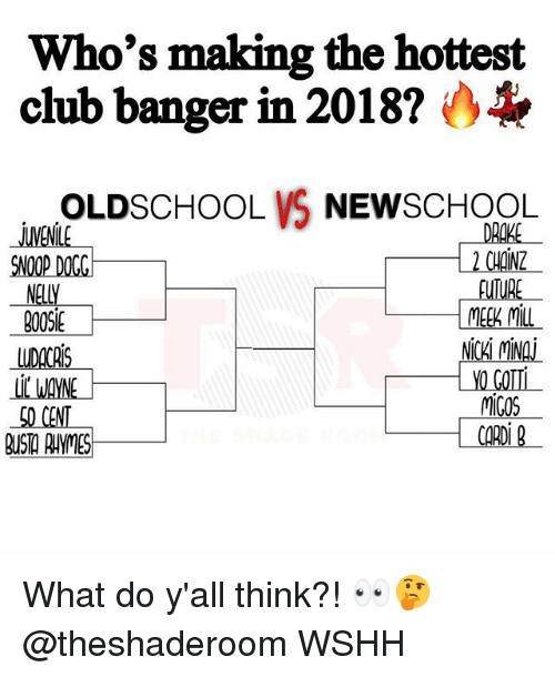 Club, Drake, and Meek Mill: Who's making the hottest  club banger in 2018?  OLDSCHOOL VS NEWSCHOOL  DRAKE  2 CHOINZ  MENLE  SNOOP DOGG  NELLY  900S1  BOOSE  DACAIS  LI WAYNE  SO CENT  MEEK MILL  NICKÍ MINA  YO GOT  MiGOS What do y'all think?! 👀🤔 @theshaderoom WSHH