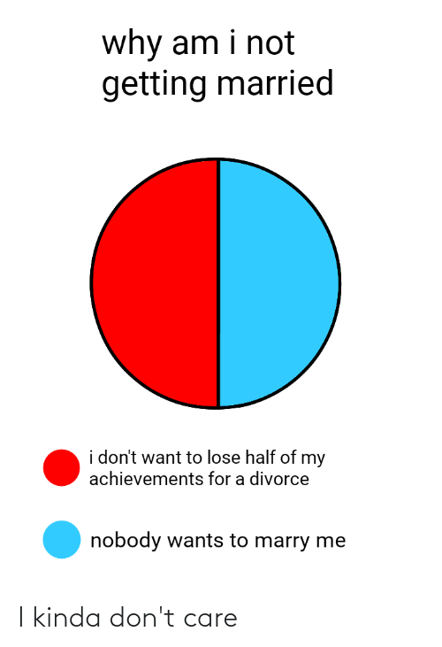Reddit, Divorce, and Marry Me: why am i not  getting married  i don't want to lose half of my  achievements for a divorce  nobody wants to marry me I kinda don't care