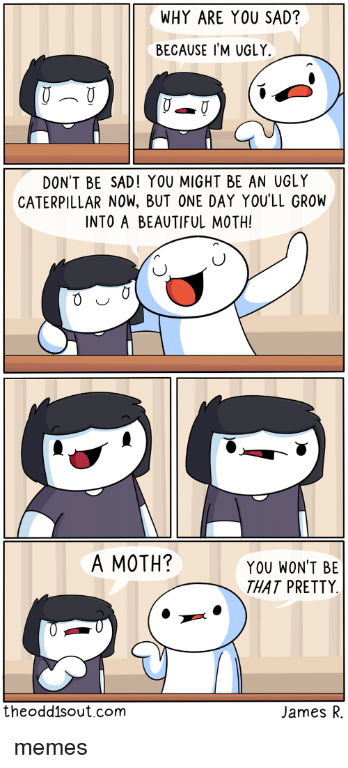 caterpillar: WHY ARE YOU SAD?  BECAUSE I'M UGLY.  DON'T BE SAD! YOU MIGHT BE AN UGLY  CATERPILLAR NOW, BUT ONE DAY YOU'LL GROW  INTO A BEAUTIFUL MOTH!  A MOTH?  YOU WON'T BE  THAT PRETTY  theoddisout.com  James R. memes