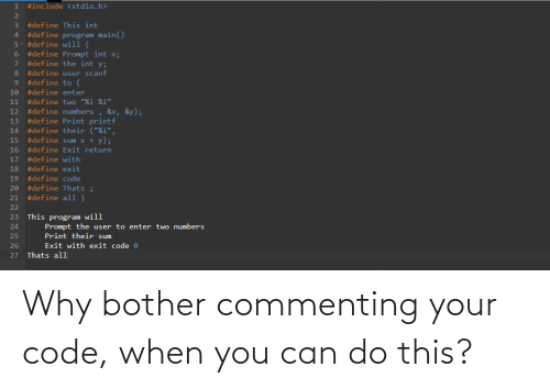 You Can: Why bother commenting your code, when you can do this?