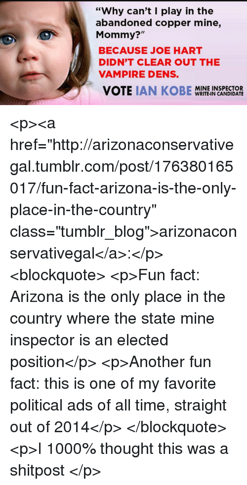 """Tumblr, Arizona, and Blog: """"Why can't I play in the  abandoned copper mine,  Mommy?""""  BECAUSE JOE HART  DIDN'T CLEAR OUT THE  VAMPIRE DENS.  MINE INSPECTOR  WRITE-IN CANDIDATE <p><a href=""""http://arizonaconservativegal.tumblr.com/post/176380165017/fun-fact-arizona-is-the-only-place-in-the-country"""" class=""""tumblr_blog"""">arizonaconservativegal</a>:</p> <blockquote> <p>Fun fact: Arizona is the only place in the country where the state mine inspector is an elected position</p>  <p>Another fun fact: this is one of my favorite political ads of all time, straight out of 2014</p> </blockquote>  <p>I 1000% thought this was a shitpost </p>"""