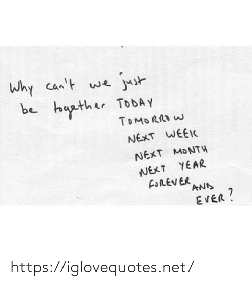 Next Year: Why can't we  just  be touather TODAY  TOMORRO W  NEXT WEEIC  NEXT MONTH  NEXT YEAR  FOREVER  AND  EVER? https://iglovequotes.net/