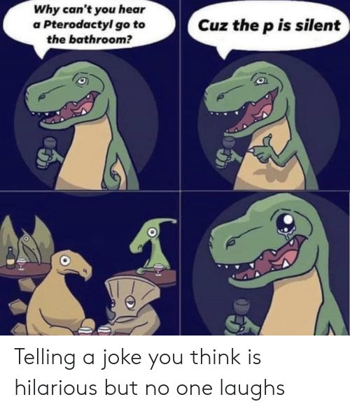 Reddit, Hilarious, and One: Why can't you hear  a Pterodactyl go to  the bathroom?  Cuz the p is silent Telling a joke you think is hilarious but no one laughs