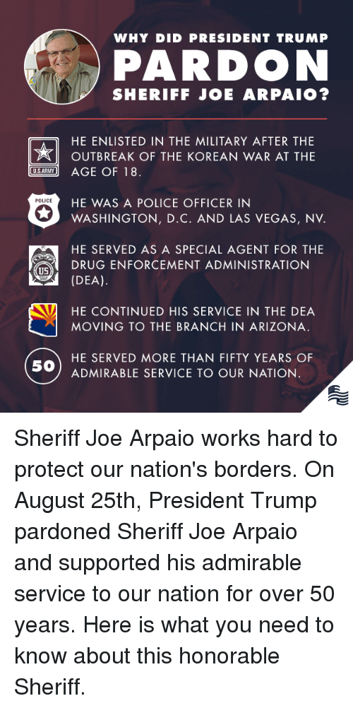 Police, Las Vegas, and Arizona: WHY DID PRESIDENT TRUMP  PARDON  SHERIFF JOE ARPAIO?  HE ENLISTED IN THE MILITARY AFTER THE  OUTBREAK OF THE KOREAN WAR AT THE  SARY AGE OF 18  HE WAS A POLICE OFFICER IN  POLICE  WASHINGTON, D.C. AND LAS VEGAS, NV.  HE SERVED AS A SPECIAL AGENT FOR THE  (DEA).  HE CONTINUED HIS SERVICE IN THE DEA  DRUG ENFORCEMENT ADMINISTRATION  US  MOVING TO THE BRANCH IN ARIZONA.  HE SERVED MORE THAN FIFTY YEARS OF  50  ADMIRABLE SERVICE TO OUR NATION Sheriff Joe Arpaio works hard to protect our nation's borders. On August 25th, President Trump pardoned Sheriff Joe Arpaio and supported his admirable service to our nation for over 50 years. Here is what you need to know about this honorable Sheriff.