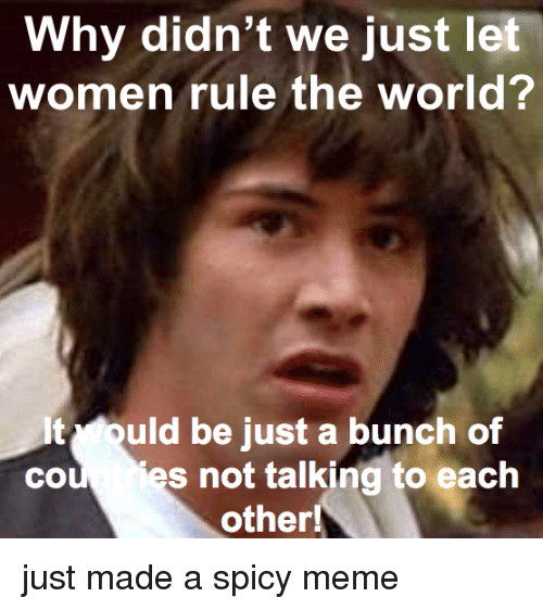 Meme, Women, and World: Why didn't we just let  women rule the world?  It ould be just a bunch of  cou es not talking to each  other! just made a spicy meme