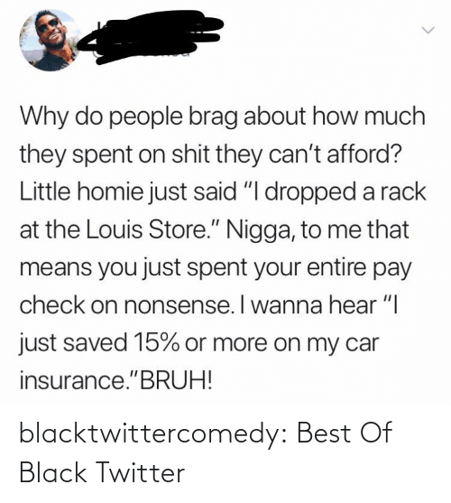 "Nonsense: Why do people brag about how much  they spent on shit they can't afford?  Little homie just said ""I dropped a rack  at the Louis Store."" Nigga, to me that  means you just spent your entire pay  check on nonsense. I wanna hear ""I  just saved 15% or more on my car  insurance.""BRUH! blacktwittercomedy:  Best Of Black Twitter"