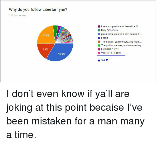 I Warned You: Why do you follow Libertarirynn?  111 responses  I saw you post one of these like Bir...  Holy Orthodoxy  pizza pasta put it in a box, deliver it...  O I don't  23.4%  The politics, commentary, and mem.  The politics,memes, and commentary  16.2%  . I WARNED YOU  YOURE A HER?!?  33.3% <p>I don't even know if ya'll are joking at this point becaise I've been mistaken for a man many a time.</p>
