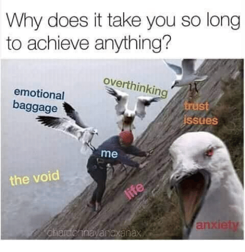 Why, You, and Void: Why does it take you so long  to achieve anything?  overthinkin  emotional  baggage  st  ssues  me  the void