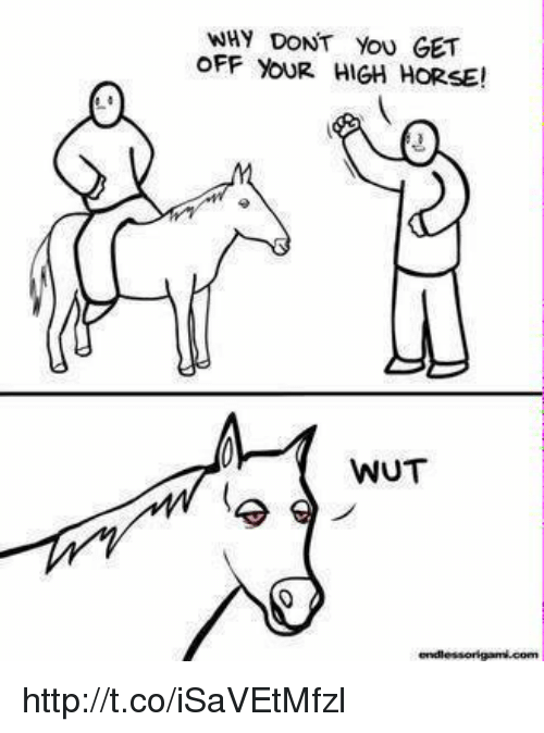 high horse: WHY DONT YOU GET  OFF YOUR HIGH HORSE!  WUT http://t.co/iSaVEtMfzl