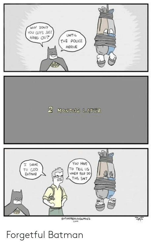 Batman Com: WHY DONT  YOU GUYS JUST  HANG OUT  UNTIL  THE POLICE  ARRIVE  You HAVE  To TELL US  WHEN YoOu Do  THIS SHT  TO COD  BATMAN  COM Forgetful Batman