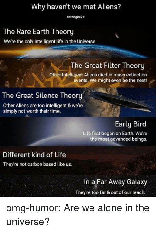Being Alone, Life, and Omg: Why haven't we met Aliens?  astrogeekaz  The Rare Earth Theory  We're the only Intelligent life in the Universe  The Great Filter Theory  Other Intelligent Aliens died in mass extinction  events. We might even be the next!  The Great Silence Theory  Other Aliens are too intelligent & we're  simply not worth their time.  Early Bird  Life first began on Earth. We're  the most advanced beings.  Different kind of Life  They're not carbon based like us.  In a Far Away Galaxy  They're too far & out of our reach. omg-humor:  Are we alone in the universe?