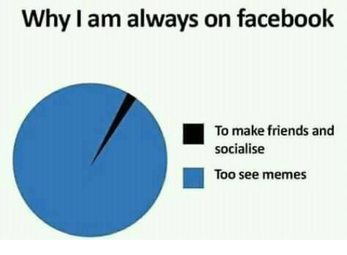 Facebook, Friends, and Memes: Why I am always on facebook  To make friends and  socialise  ■  Too see memes