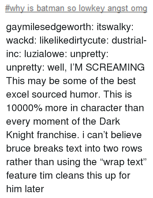 "in character:  #why is batman so lowkey angst ong gaymilesedgeworth:  itswalky:  wackd:  likelikedirtycute:  dustrial-inc:  luzialowe:  unpretty:  unpretty:  well,     I'M SCREAMING  This may be some of the best excel sourced humor.   This is 10000% more in character than every moment of the Dark Knight franchise.  i can't believe bruce breaks text into two rows rather than using the ""wrap text"" feature  tim cleans this up for him later"