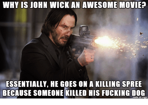 awesome movies: WHY IS JOHN WICK AN AWESOME MOVIE?  ESSENTIALLY, HE GOES ON A KILLING SPREE  BECAUSE SOMEONE KILLED HIS FUCKING DOG  made on imgur