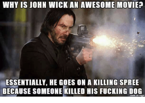 awesome movies: WHY IS JOHN WICK AN AWESOME MOVIE?  ESSENTIALLY, HE GOES ON A KILLING SPREE  BECAUSE SOMEONE KILLED HIS FUCKING DOG